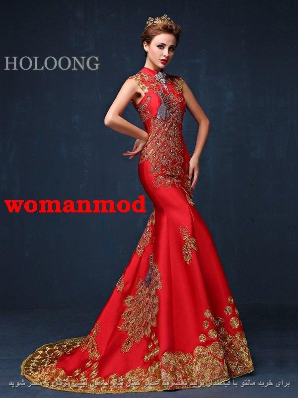 جدیدترین لباس شب مجلسی ساتن قرمز کار شده با دست
