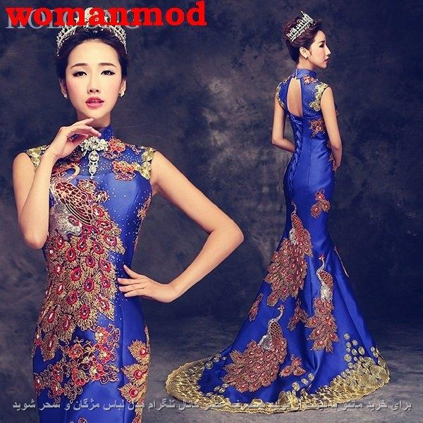 لباس شب ساتن آبی براق با طرح طاووس و پولک دوزی با کار دست