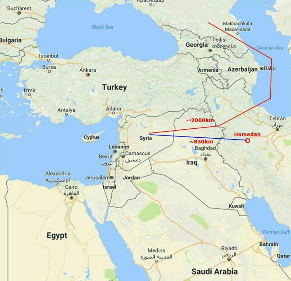 مسیر پرواز جنگنده های روسی از ایران به سمت بمباران مواضع تروریست ها در سوریه