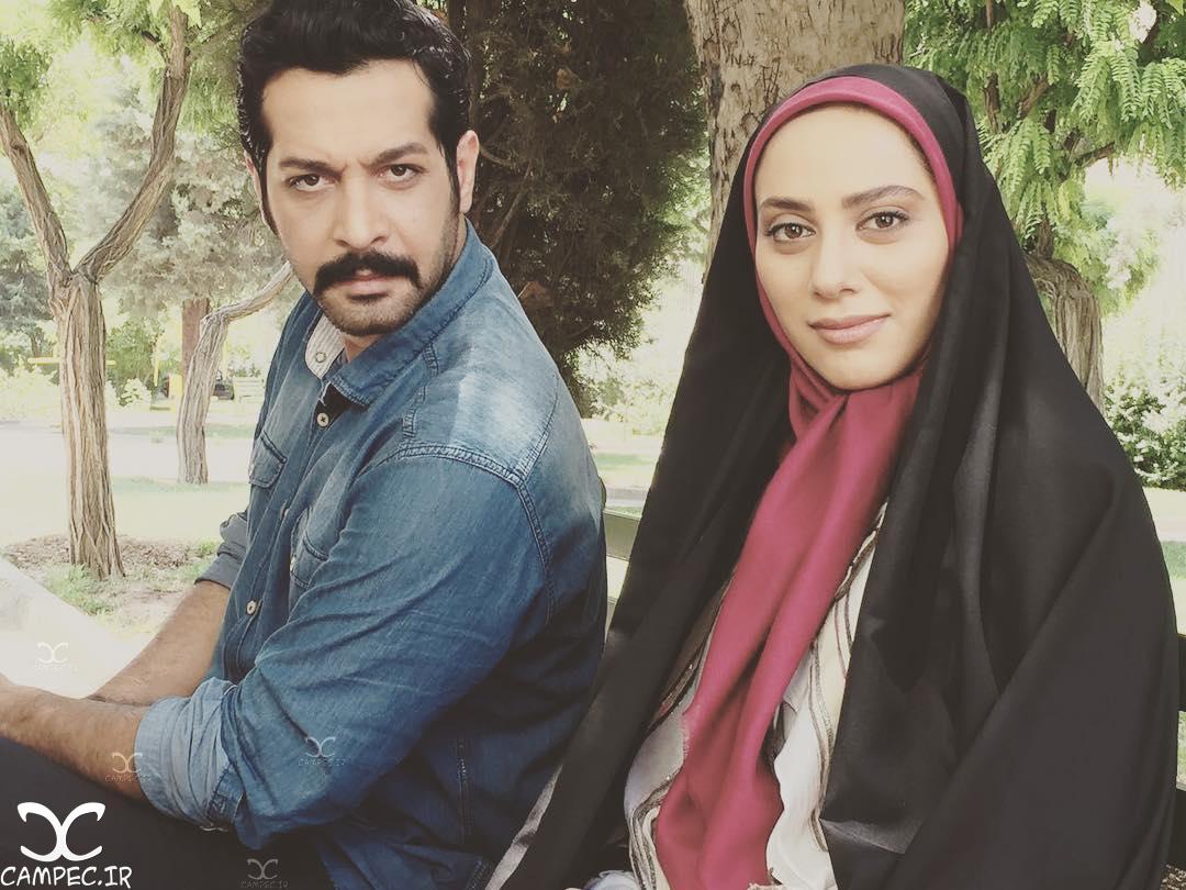 کامران تفتی و مونا فرجاد در پشت صحنه سریال آرام میگیریم