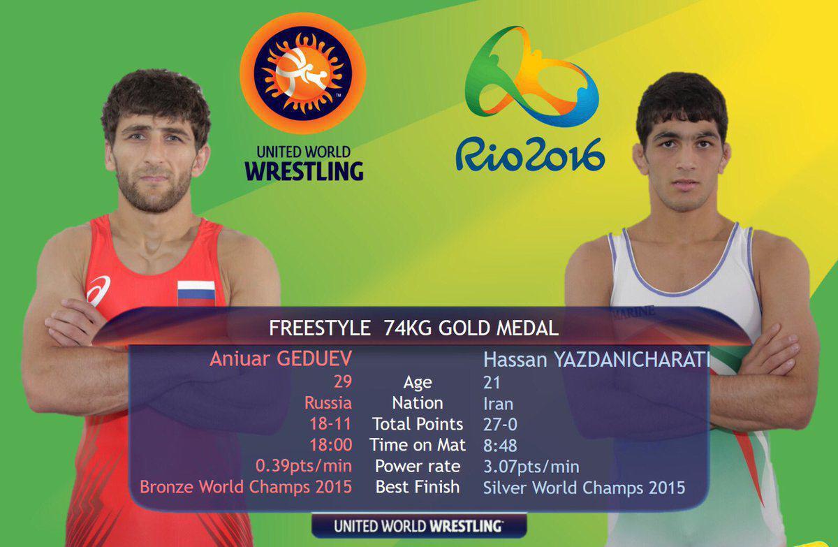 نتیجه کشتی فینال حسن یزدانی با حریف روسی در المپیک 2016 | فیلم مسابقه