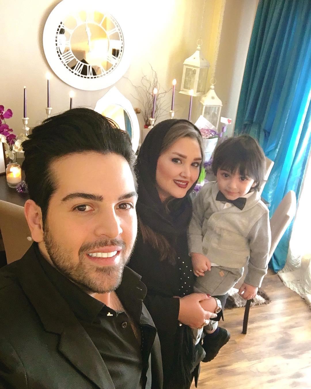 عماد طالب زاده با همسر و پسرش