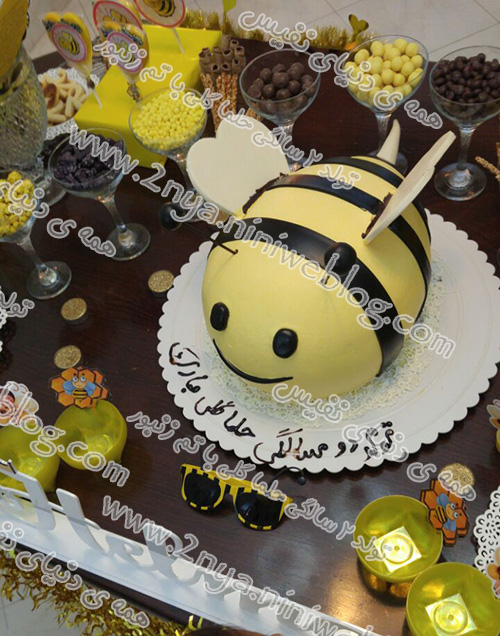 cake_bee_zanboor مدل کیک تولد تم زنبوری