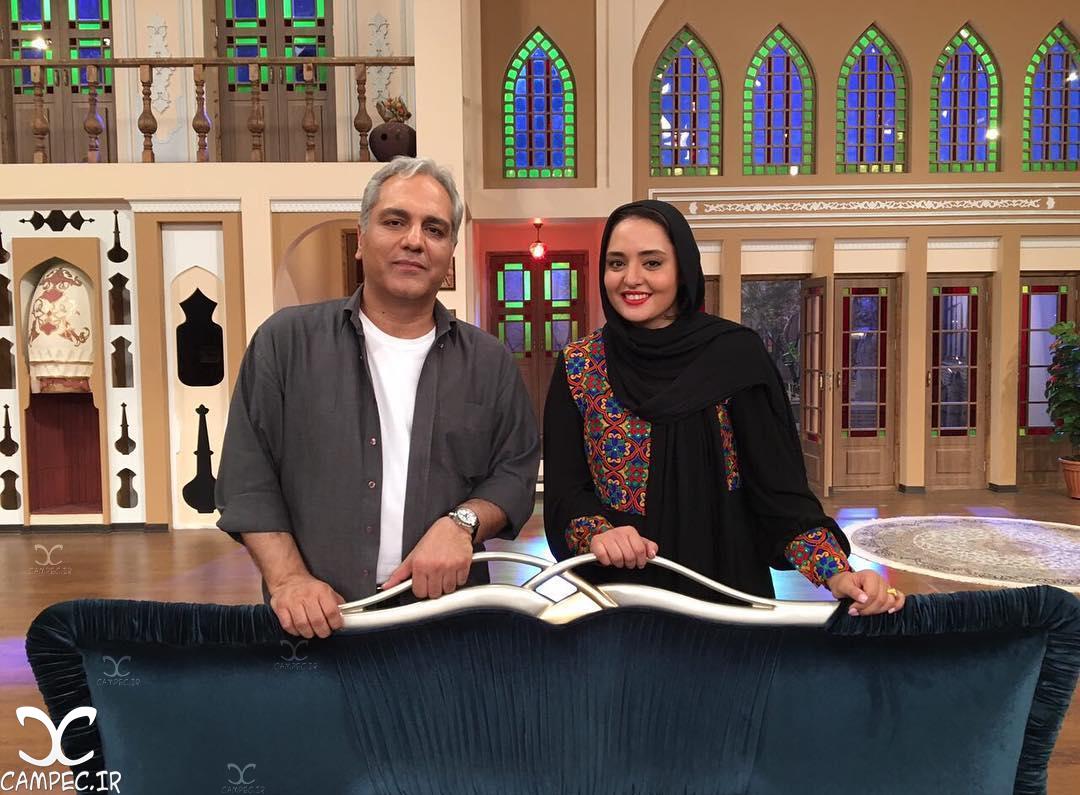نرگس محمدی در کنار مهران مدیری در برنامه دورهمی