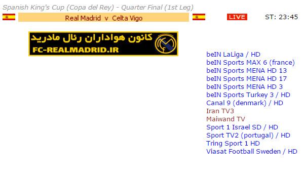 شبکه ها پخش کننده بازی رئال مادرید و سلتاویگو 29 دی/ کوپا دل ری