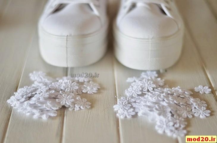 اموزش تزیین کفش سفید کتانی دخترانه سایت عروس 2017 model kafshe ktani dokhtarane