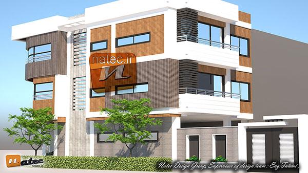 طراحی نمای ساختمان از سنگ و آجر